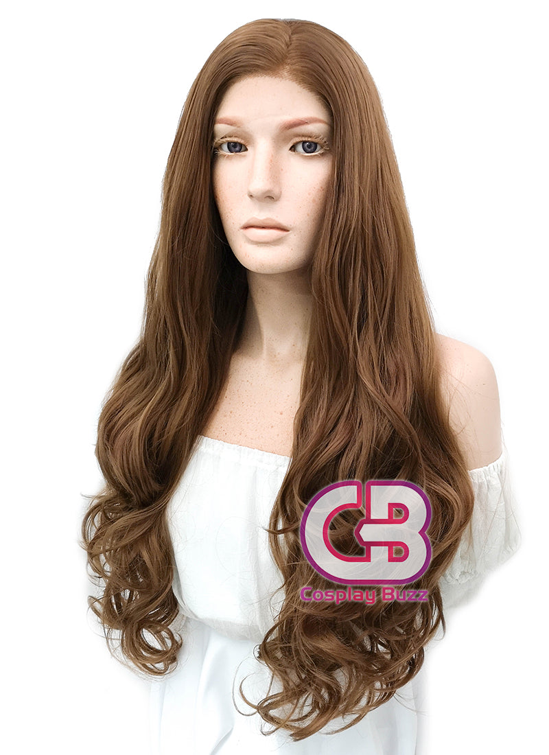 Long Curly Brown Lace Front Synthetic Hair Wig LW667J - CosplayBuzz