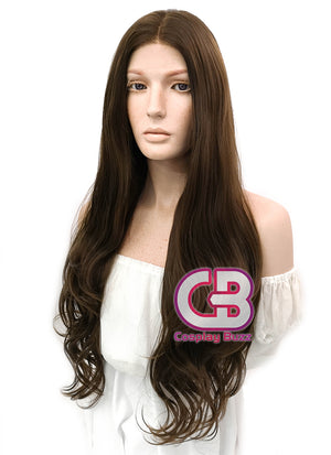 Long Curly Medium Brown Lace Front Synthetic Hair Wig LW694 - CosplayBuzz