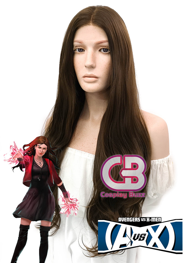 Marvel Avengers Scarlet Witch Long Curly Medium Brown Lace Front Synthetic Hair Wig LW694 - CosplayBuzz