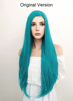Long Straight Turquoise Blue Lace Front Synthetic Hair Wig LW714A - CosplayBuzz