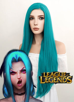 League of Legends LOL Jinx Long Wavy Turquoise Blue Lace Front Synthetic Hair Wig LW714A
