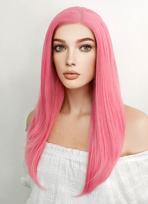 Long Straight Pink Lace Front Synthetic Hair Wig LW769C - CosplayBuzz