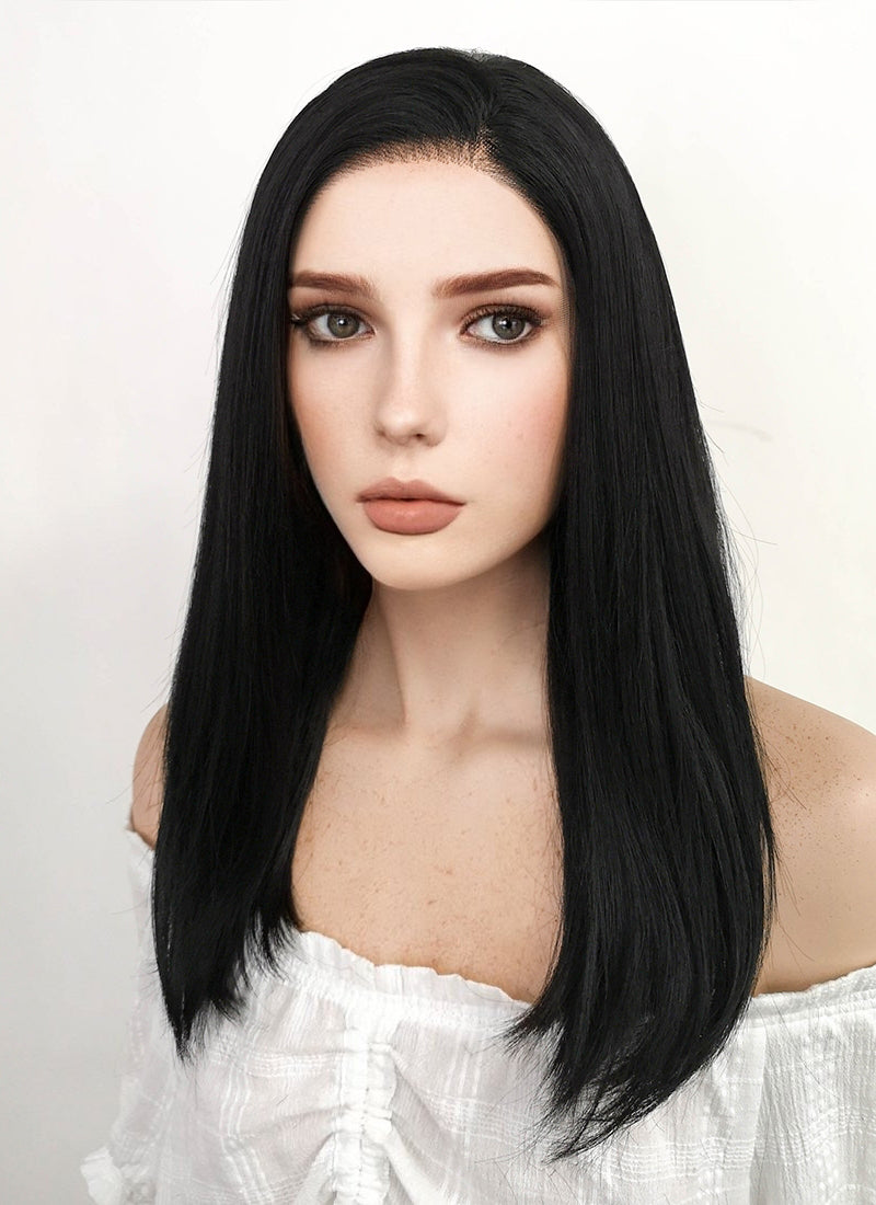Long Straight Black Lace Front Synthetic Hair Wig LW769