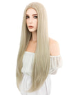Long Straight Ash Blonde Lace Front Synthetic Hair Wig LW780 - CosplayBuzz