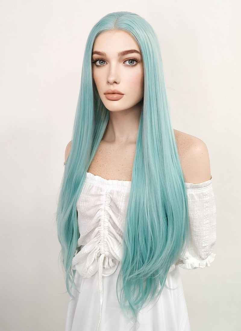 Long Straight Mixed Light Green Lace Front Synthetic Hair Wig LW813