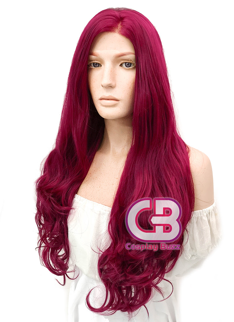 Long Wavy Reddish Purple Lace Front Synthetic Hair Wig LW814 - CosplayBuzz