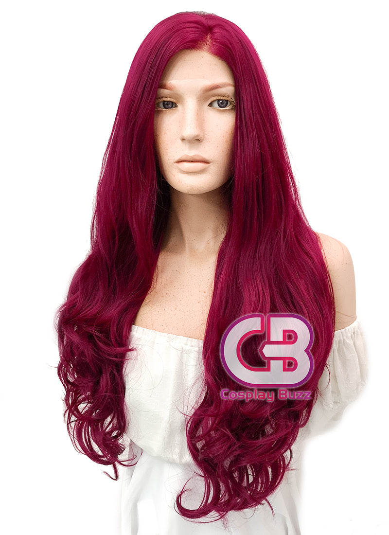 Long Curly Reddish Purple Lace Front Synthetic Hair Wig LW814 - CosplayBuzz