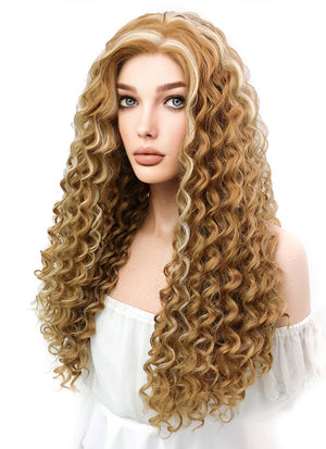 Long Spiral Curly Two Tone Blonde Lace Front Synthetic Hair Wig LW817 - CosplayBuzz