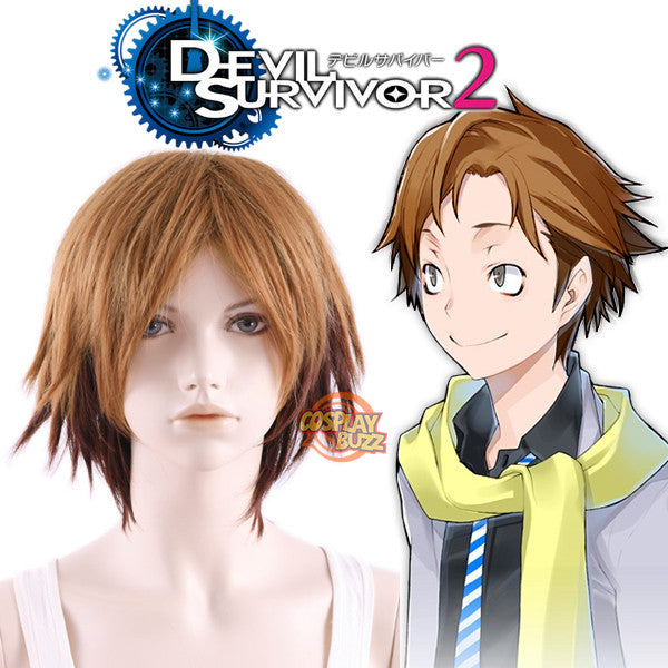 DEVIL SURVIVOR 2 Shijima Daichi Short Two Tone Brown Anime Cosplay Wig MY045 - CosplayBuzz