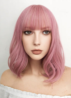 Medium Wavy Pink Bob Cosplay Wig NS063