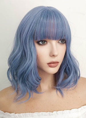 Medium Wavy Blue Mixed Purple Bob Cosplay Wig NS102