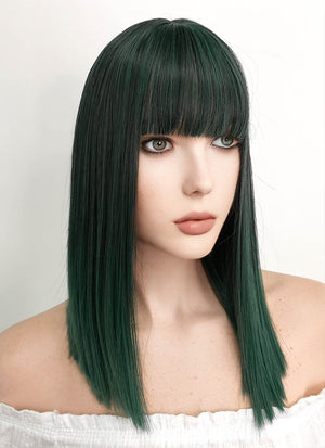 Medium Straight Black Mixed Green Bob Cosplay Wig NS104