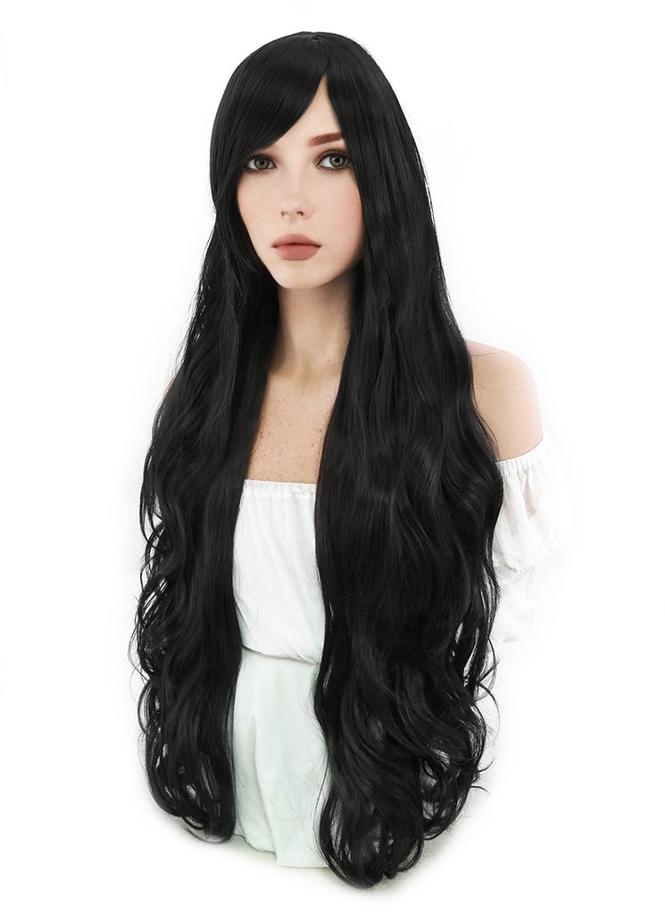 80CM Long Curly Black Cosplay Wig PL027 - CosplayBuzz