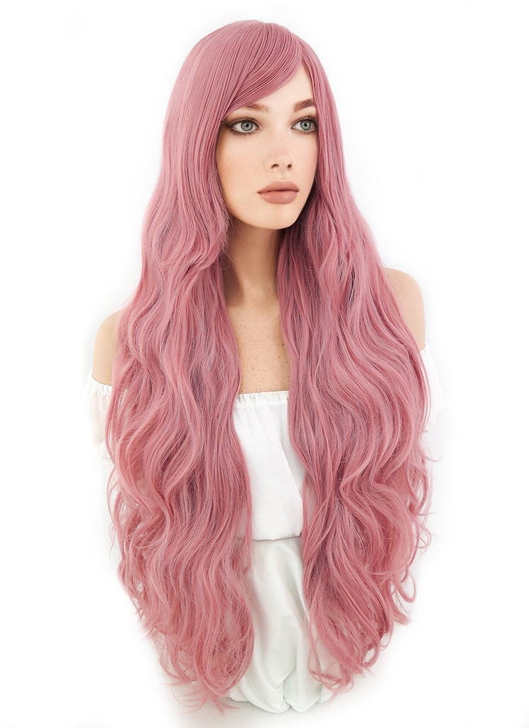 80CM Long Curly Milkshake Pink Cosplay Wig PL216 - CosplayBuzz