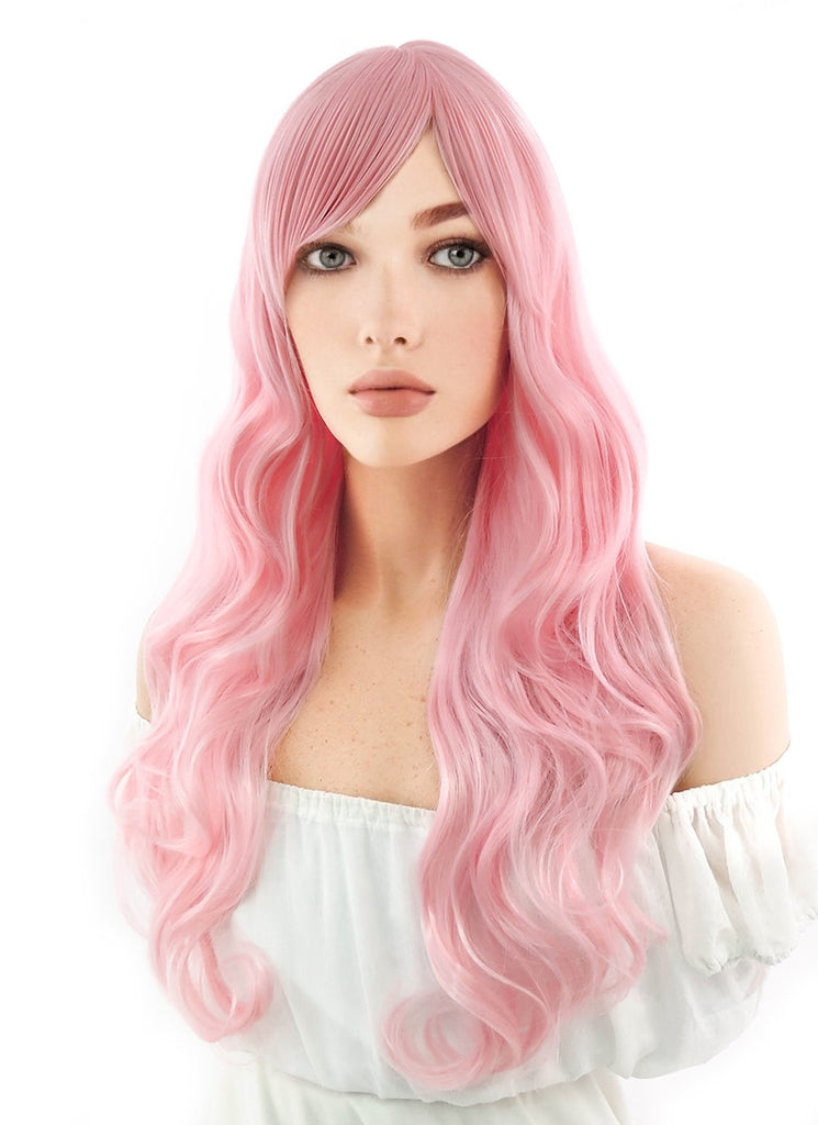 Long Curly Pink Cosplay Wig PL304 - CosplayBuzz