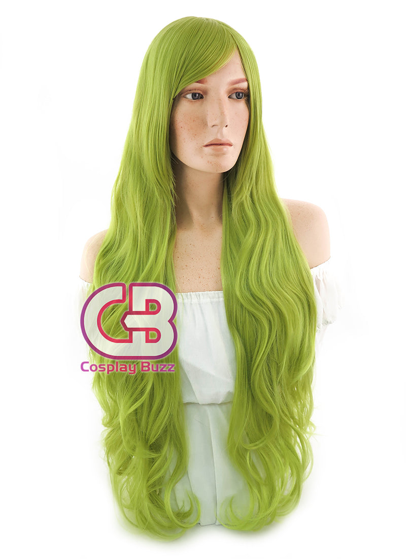 Long Curly Yellowish Green Cosplay Wig PL350 - CosplayBuzz
