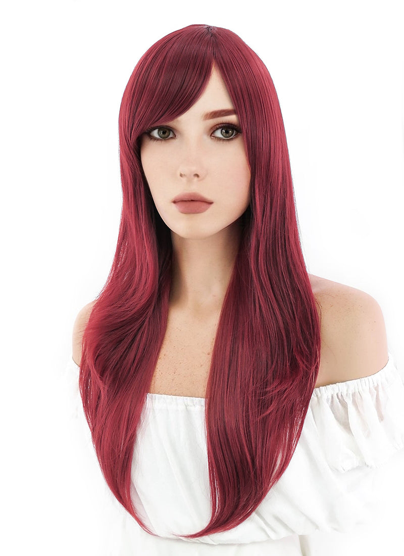 Marvel Black Widow Long Wavy Dark Red Cosplay Wig PL377B - CosplayBuzz