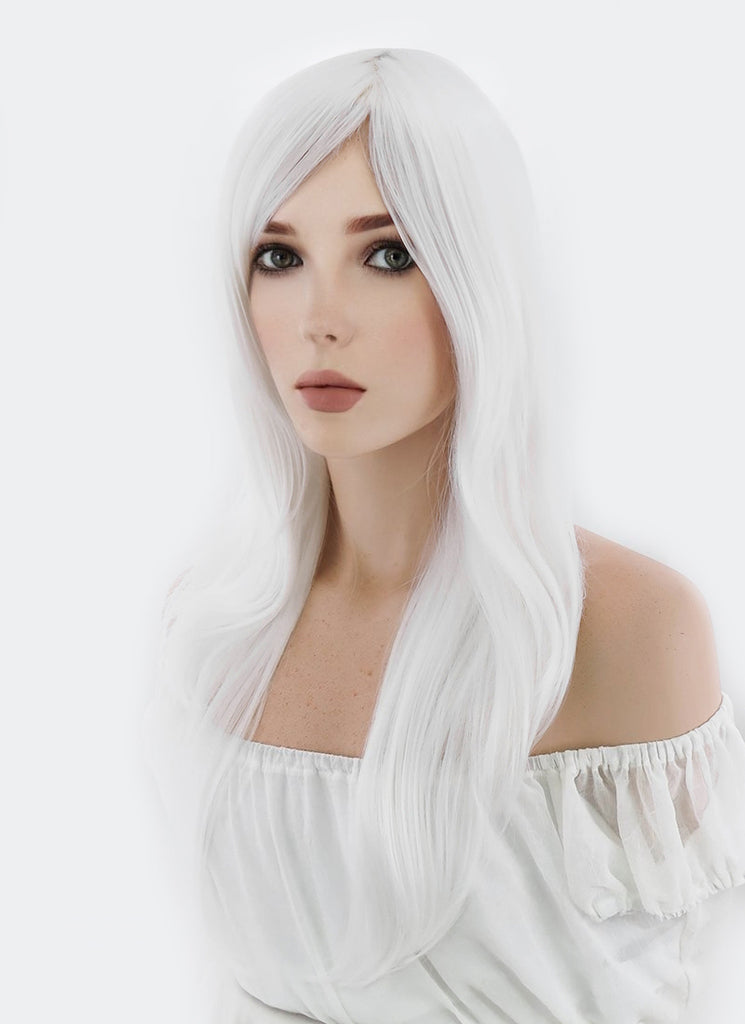 "24"" Long Straight Pure White Cosplay Wig PL460 - CosplayBuzz"