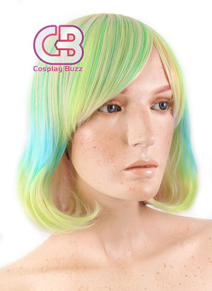 Land of the Lustrous Phosphophyllite Medium Blue Green Blonde Mixed Anime Cosplay Wig PL505 - CosplayBuzz