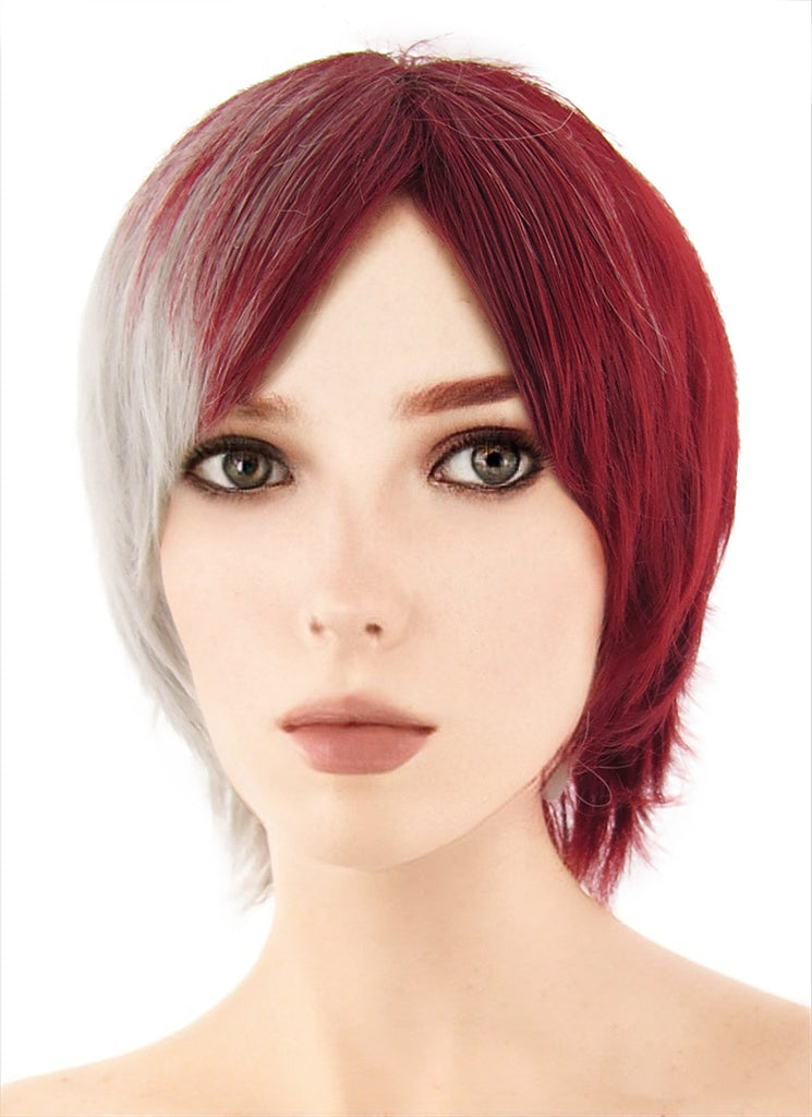 My Hero Academia Shouto Todoroki Medium Red Mixed Grey Anime Cosplay Wig TBZ1132A