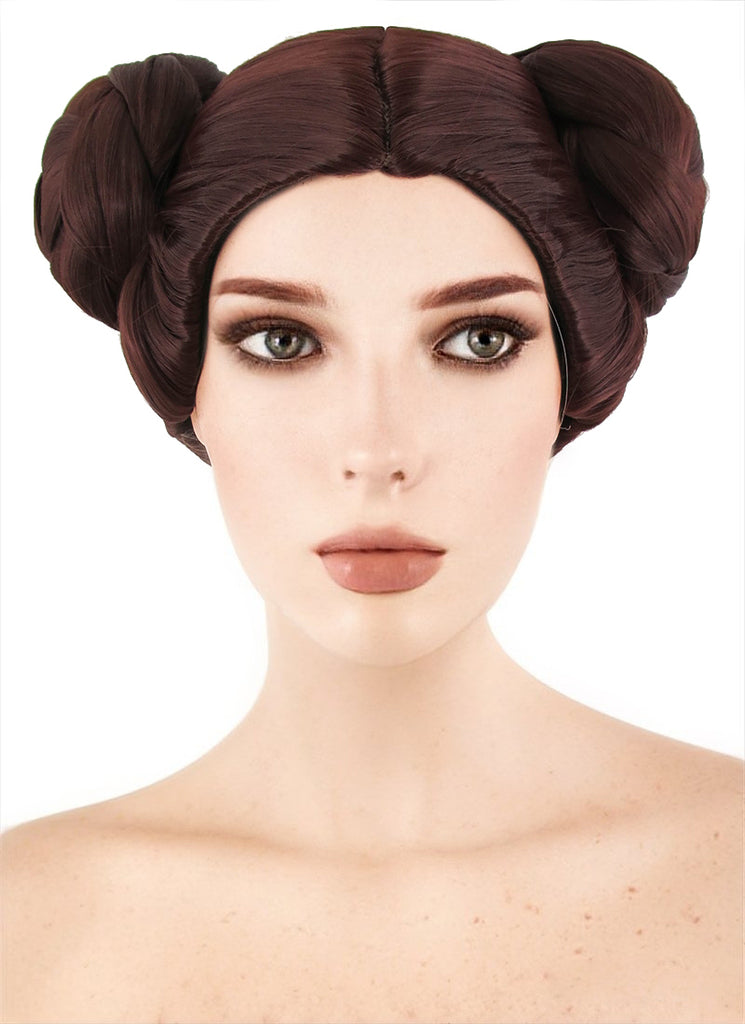 Star Wars Princess Leia Short Brown Anime Cosplay Wig TBZ1136