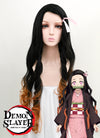 Demon Slayer: Kimetsu No Yaiba Kamado Nezuko Long Black With Orange Cosplay Wig TBZ1161