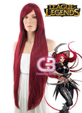 League of Legends LOL Katarina Long Straight Red Anime Cosplay Wig TBZ953B - CosplayBuzz