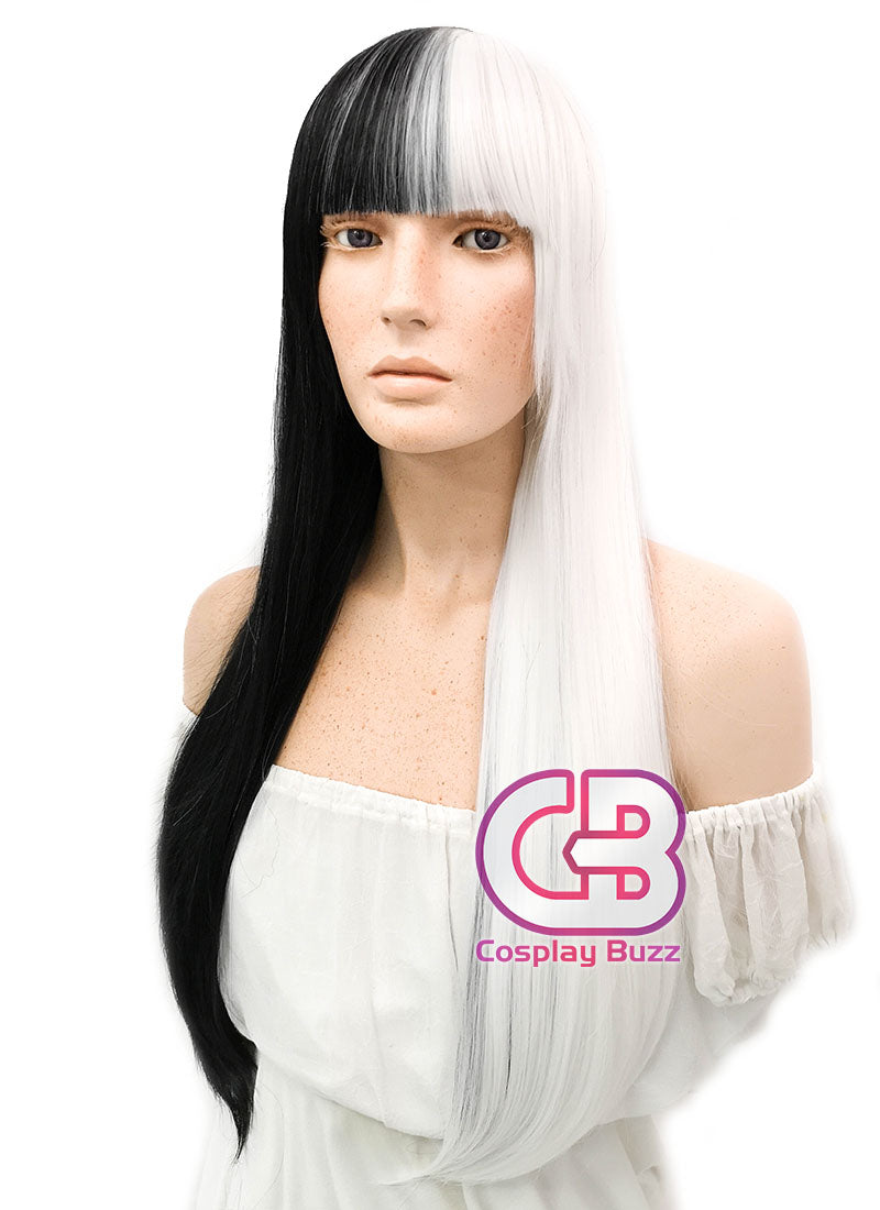 Long Straight Black White Split Color Cosplay Wig WIG159 - CosplayBuzz