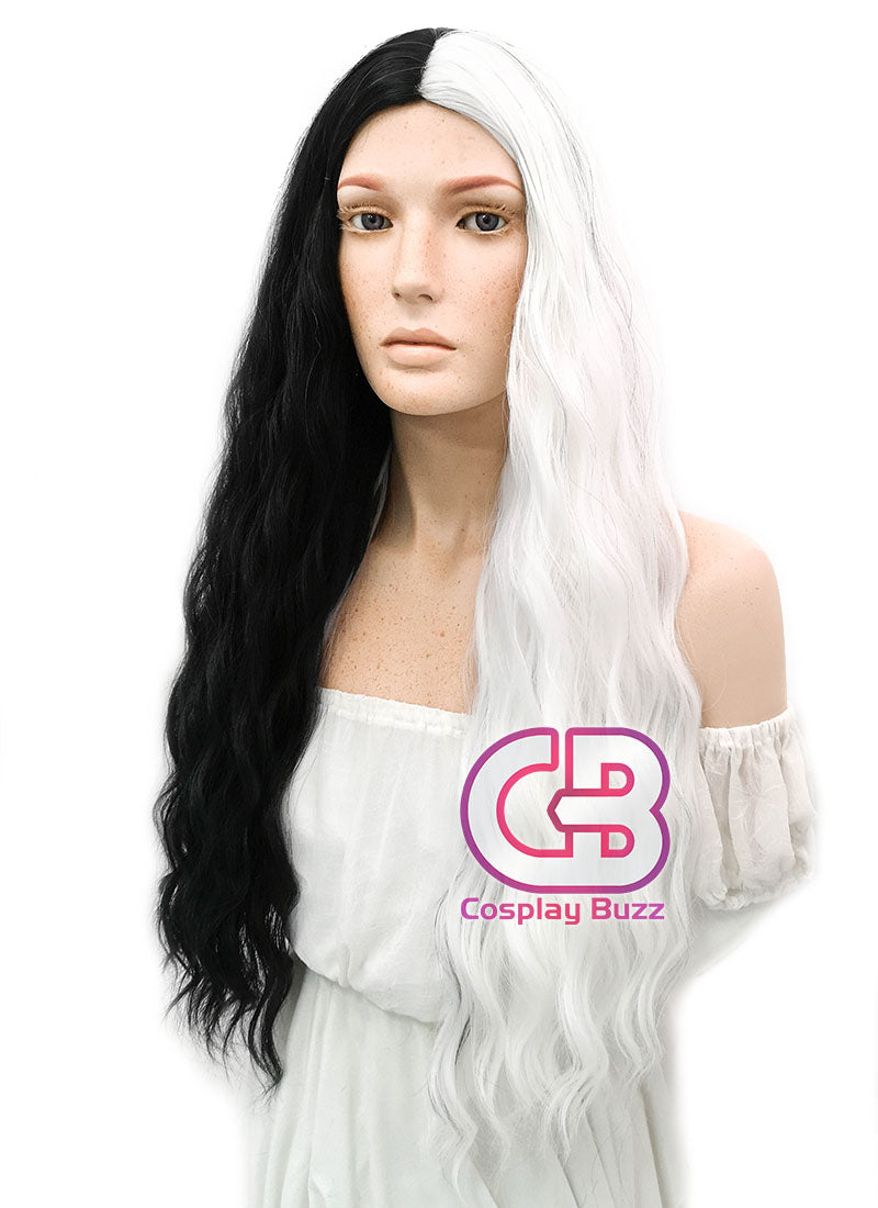 Long Wavy Black White Split Color Cosplay Wig WIG338 - CosplayBuzz