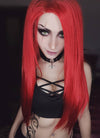 Long Straight Red Lace Front Synthetic Hair Wig LF025 - CosplayBuzz