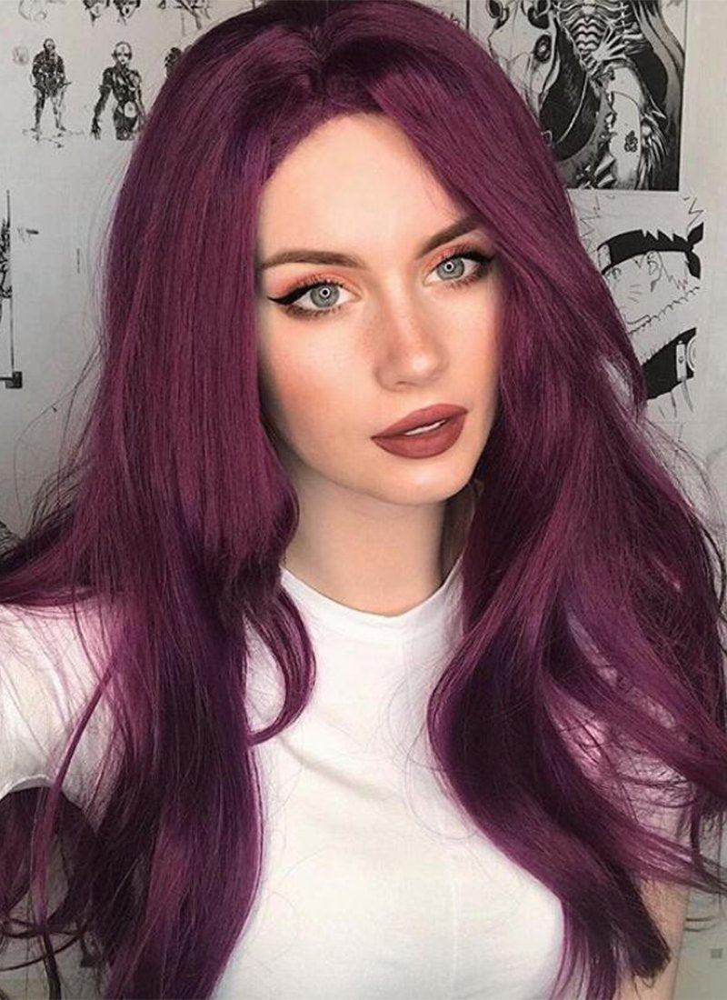 Long Straight Dark Purple Lace Front Synthetic Hair Wig LF029 - CosplayBuzz