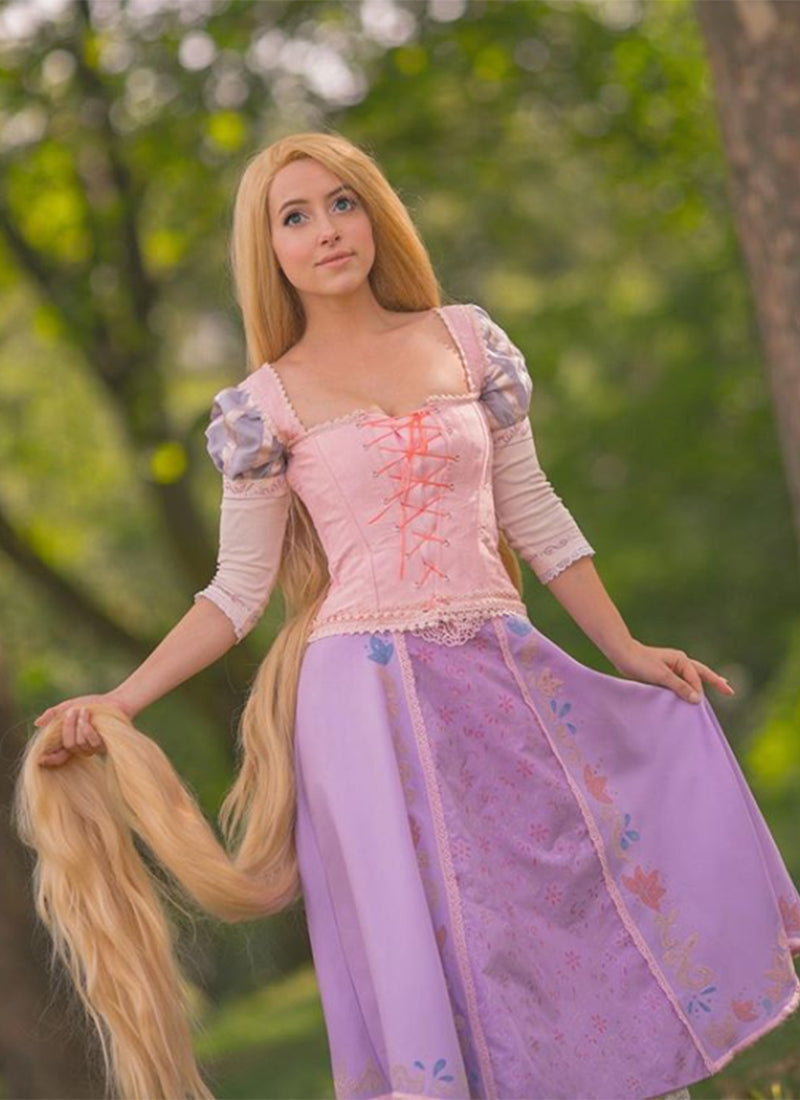 Disney Princess Tangled Rapunzel Long Straight Yaki Blonde Lace Front Synthetic Hair Wig LF701S