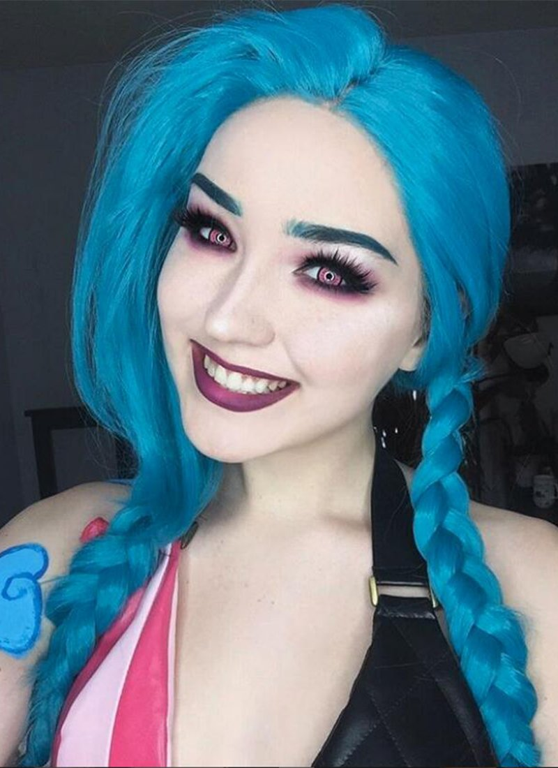 League of Legends LOL Jinx Long Wavy Turquoise Blue Lace Front Synthetic Hair Wig LW714A - CosplayBuzz