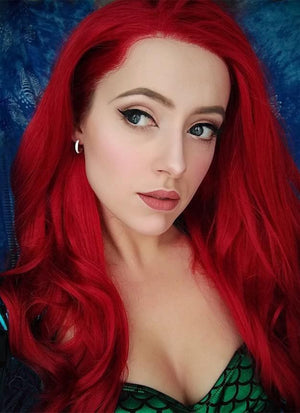 Long Curly Red Lace Front Synthetic Hair Wig LF809 - CosplayBuzz