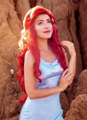Disney The Little Mermaid Ariel Long Curly Red Lace Front Synthetic Hair Wig LF809 - CosplayBuzz