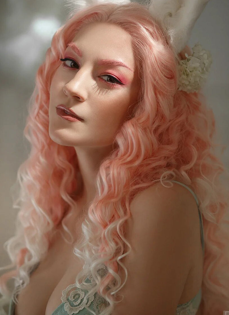 Long Spiral Pink with Light Tips Lace Front Synthetic Hair Wig LF165