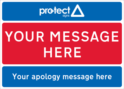 Red/White/Blue - Apology Sign - 600x450mm