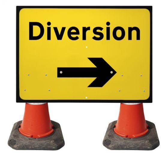 1050x750mm Cone Sign - Diversion with Movable Arrow - 2702