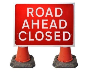 1050x750mm Cone Sign - Road Ahead Closed - 7010.1 (4308343717922)