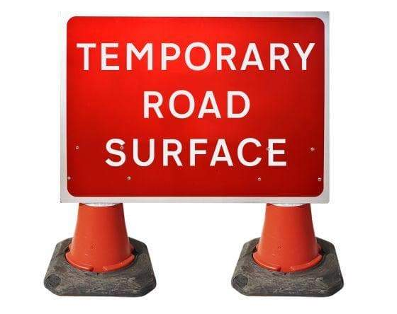 1050x750mm Cone Sign - Temporary Road Surface - 7010.1 (4308355809314)