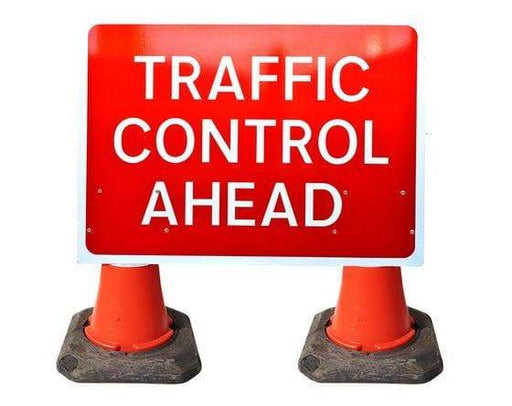 1050x750mm Cone Sign - Traffic Control Ahead - 7001.15 (4308349780002)