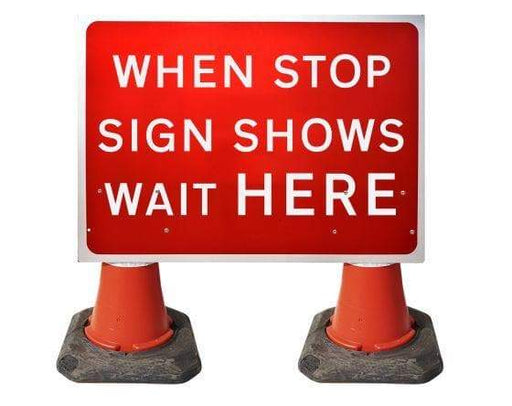 1050x750mm Cone Sign - When Stop Sign Shows Wait Here - 7011 (4308357120034)