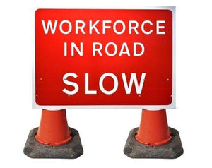 1050x750mm Cone Sign - Workforce In Road SLOW - 7001.3 (4308347519010)