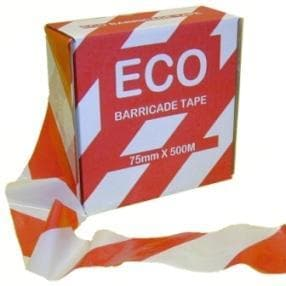 Economy Red and White Barrier Tape 500m