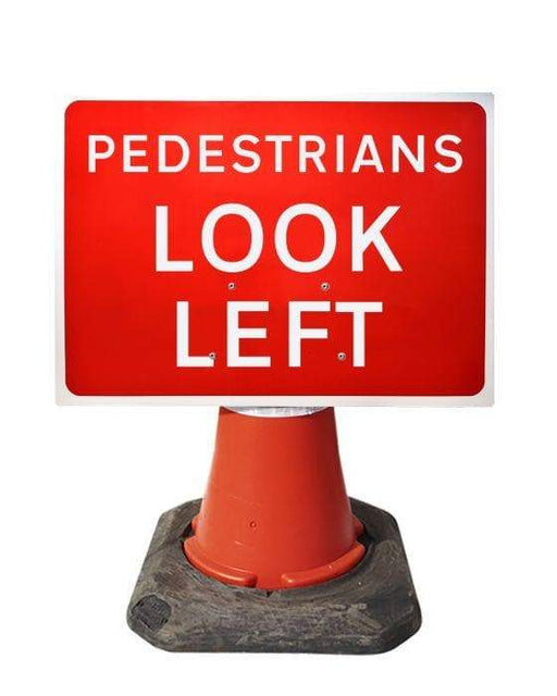 600x450mm Cone Sign - Pedestrians Look Left - 7017 (4308383498274)