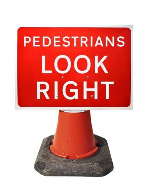 600x450mm Cone Sign - Pedestrians Look Right - 7017 (4308385005602)