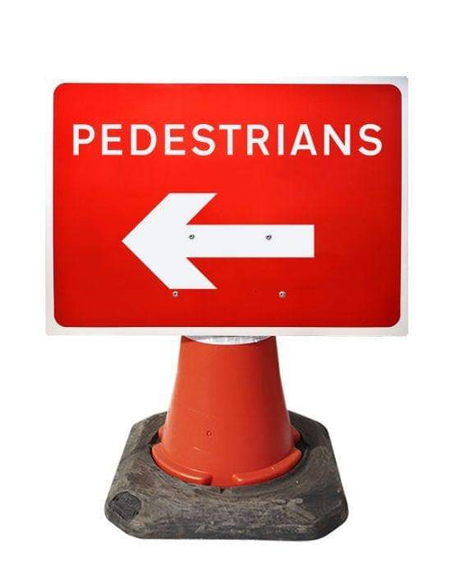 600x450mm Cone Sign - Pedestrians with Arrow Left - 7018 (4308367638562)