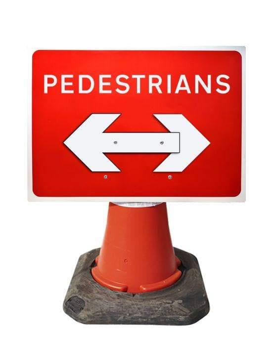 600x450mm Cone Sign - Pedestrians C/W Movable Arrow - 7018 (4308374126626)