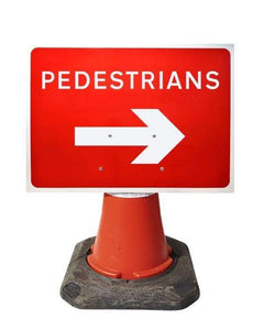 600x450mm Cone Sign - Pedestrians with Arrow Right - 7018 (4308370554914)