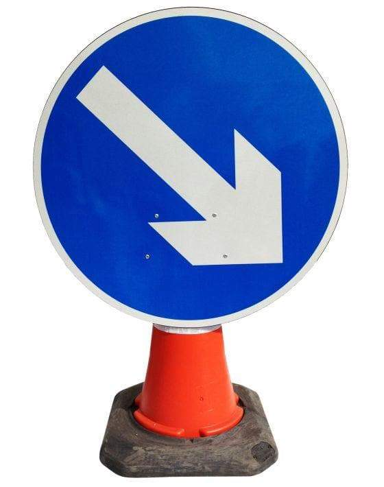Circle Cone Sign - Directional Arrow Right - 610 (4298912301090)